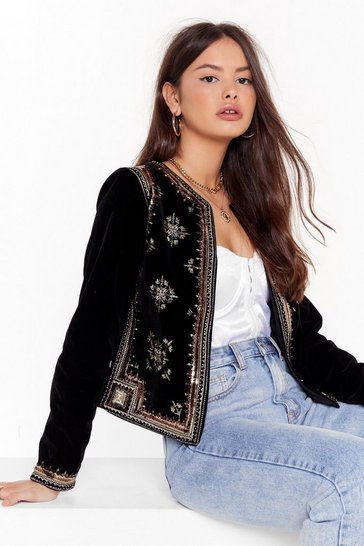 Womens Black Silver Springs Embellished Velvet Jacket