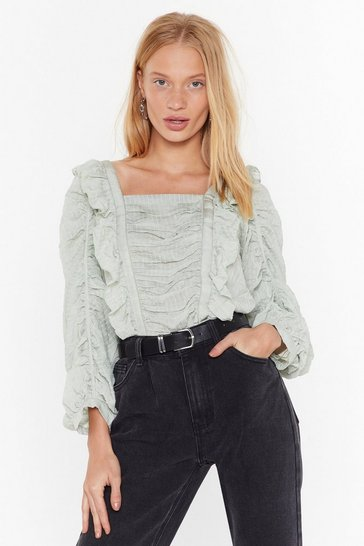 Womens Sage Square to Explain Ruffle Blouse