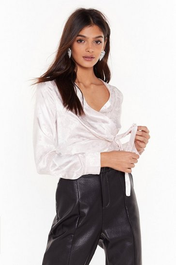 Womens Blush Sleek Up Satin Jaquard Wrap Blouse