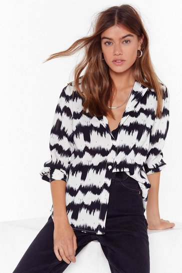 Cream Bold Moves Abstract Shirt