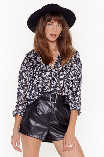 Womens Black Star-t the Party Sheer Oversized Shirt