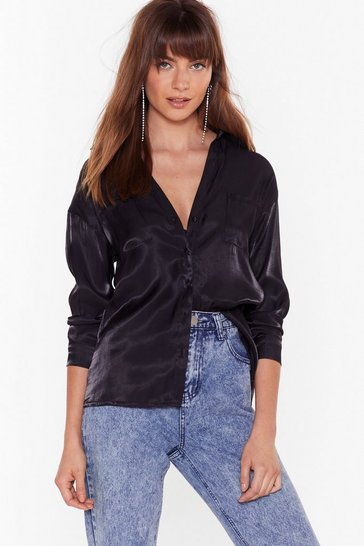 Black Shimmer Down Babe Satin Relaxed Shirt