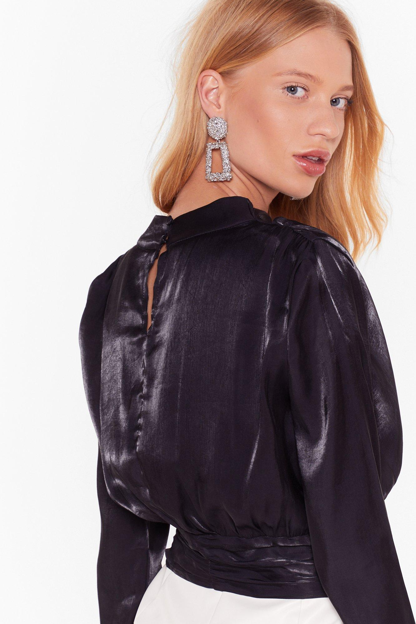 Glow Get 'em High Neck Cropped Blouse by Nasty Gal