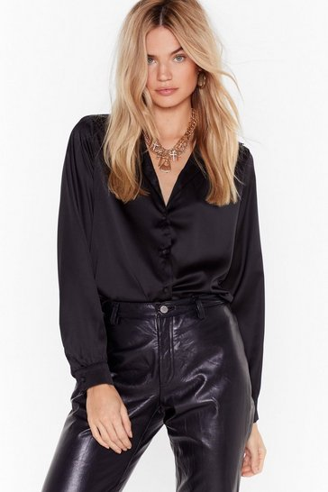 Womens Black Bow With Your Gut Satin Cut-Out Shirt