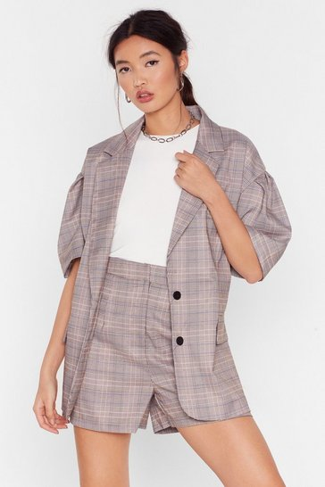 Grey Check It Over Oversized Puff Sleeve Blazer