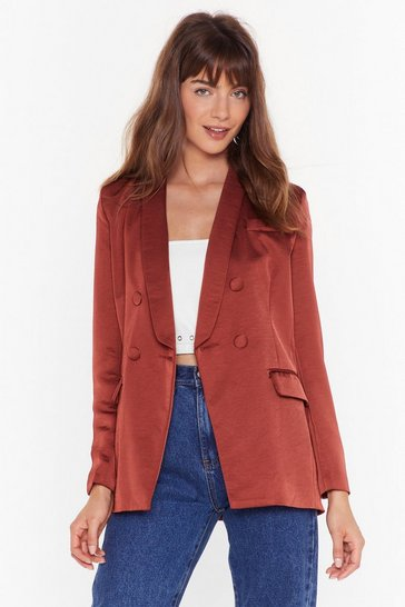 Womens Rust Let Me Sleek Satin Double Breasted Blazer