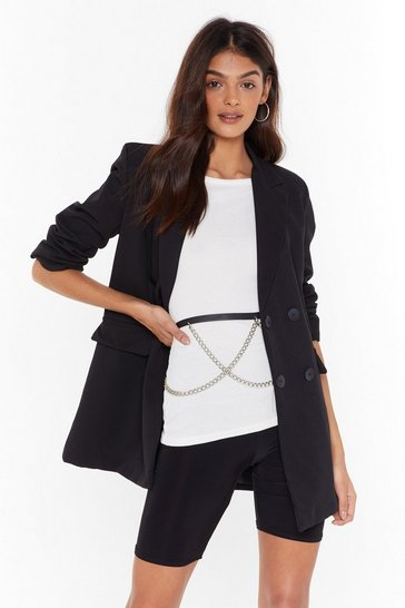 Womens Black Tailored to Your Needs Double Breasted Blazer