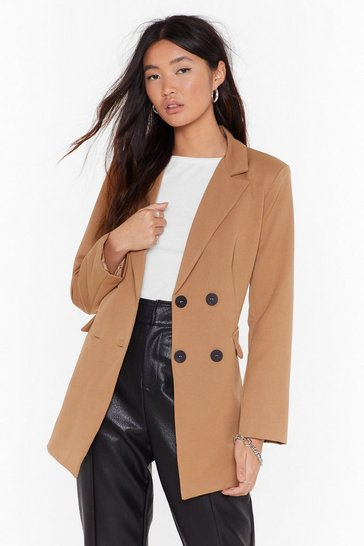 Womens Camel Tailored to Your Needs Double Breasted Blazer