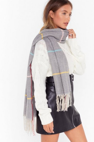 Womens Grey Love Me Stripe Knitted Scarf