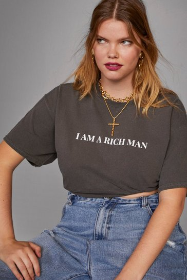 Womens Charcoal Cara Delevingne I am a Rich Man Plus Tee