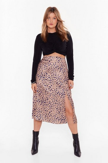 Gold Plus Leopard Print Skirt with Slit