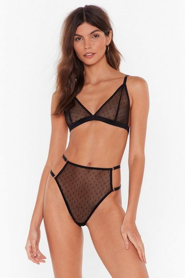 Womens Black Sheer Me Up Mesh Bralette and Panty Set