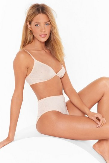 Nude Just Bling Yourself Mesh Bralette and Panty Set