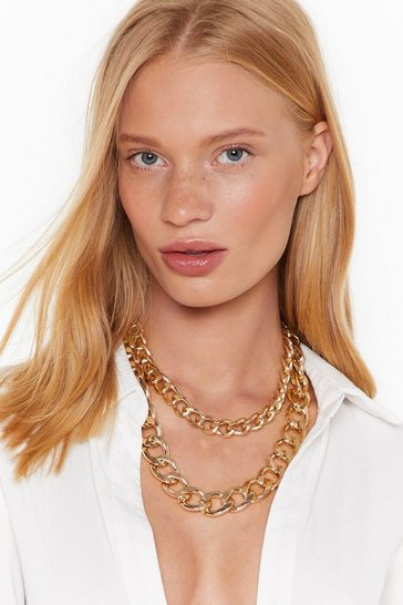 Womens Gold Chunky and Funky Layered Chain Necklace