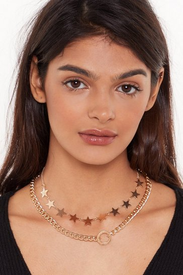 Womens Gold 'Round the World Star Choker and Necklace