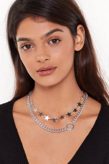 Silver 'Round the World Star Choker and Necklace