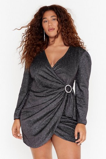 Womens Black Good Night Plus Wrap Dress