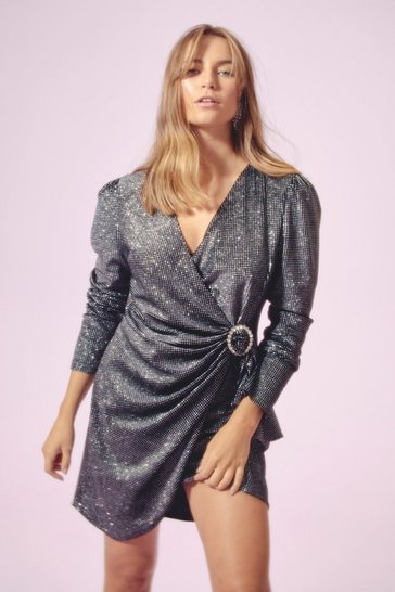 Womens Black Good Night Diamante Buckle Wrap Dress