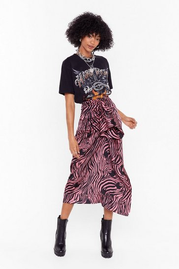 Womens Pink I Don't Care What You Herd Zebra Midi Skirt