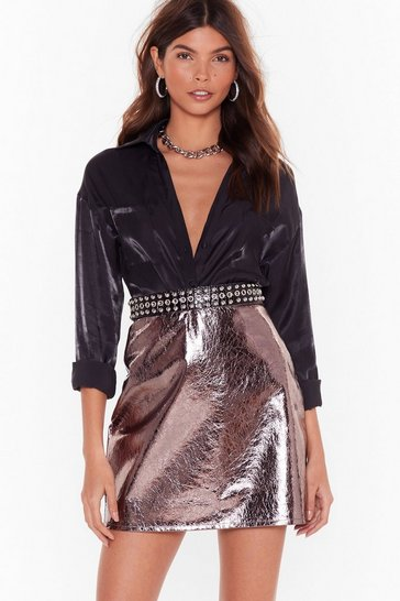 Womens Pewter Be Shine Metallic Mini Skirt