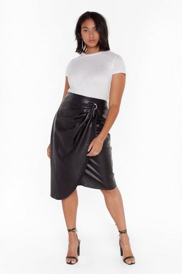 Womens Black Happy Faux Leather After Wrap Midi Skirt