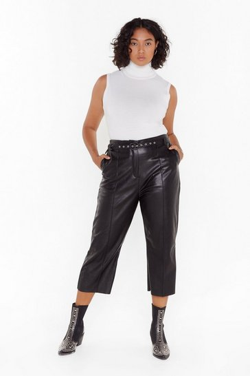 Womens Black Seam There Done That Plus Faux Leather Trousers