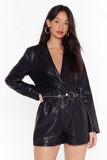 Black Set Me V-Neck Faux Leather Romper