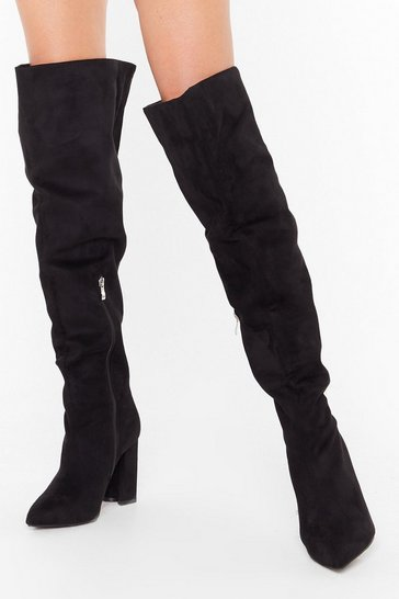 Womens Black Looks Like We Faux Suede It Wide Fit Boots