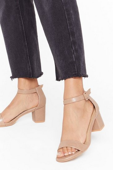 Camel Gimme the Low Down Faux Leather Kitten Heels