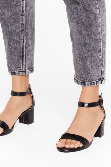 Black How Do Heel Faux Leather Flare Block Heels