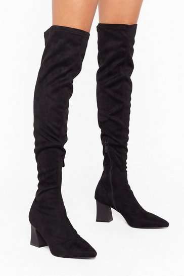 Black This Ain't Over-the Knee Faux Suede Boots