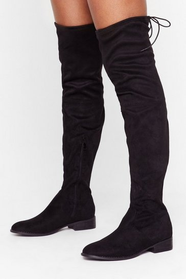 Black Flatter Me Faux Suede Over-the-Knee Boots