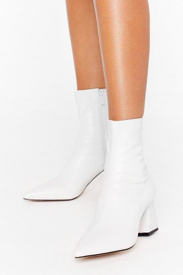 White Heel Talk Faux Leather Sock Boots