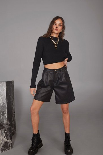 Black Doom or Destiny Faux Leather Longline Shorts