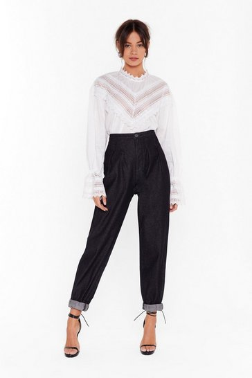 Black Pleat Be Mine High-Waisted Mom Jeans