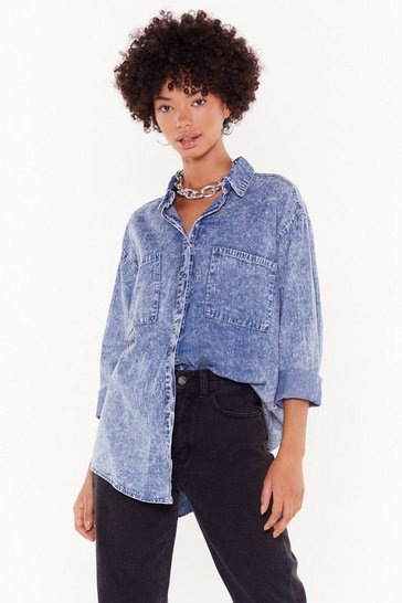 Blue Wash It All Away Acid Wash Oversized Shirt