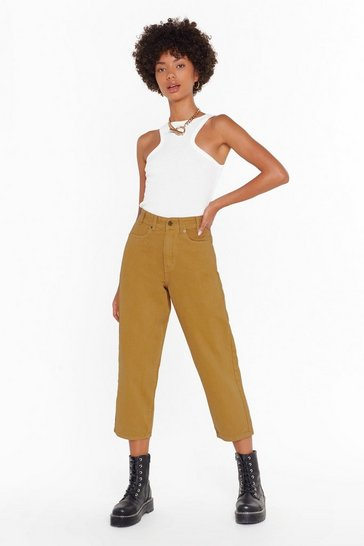 Womens Tan On Crop of the World Wide-Leg Jeans