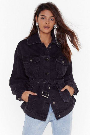 Black It's a Long Story Belted Denim Jacket