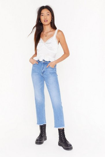Mid blue Raw Hem Mom Jeans