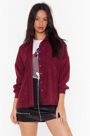 Womens Maroon Take It Easy Corduroy Shirt