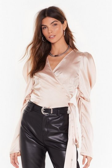 Womens Nude Tie It Out Satin Puff Sleeve Top