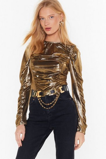 Gold Shine to Get Ready Metallic Ruched Top