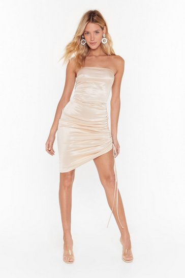 Womens Champagne Pulling Power Satin Mini Dress