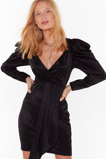 Womens Black Take the Power Back Satin Mini Dress