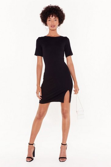 Womens Black Oh Slit Mini Dress