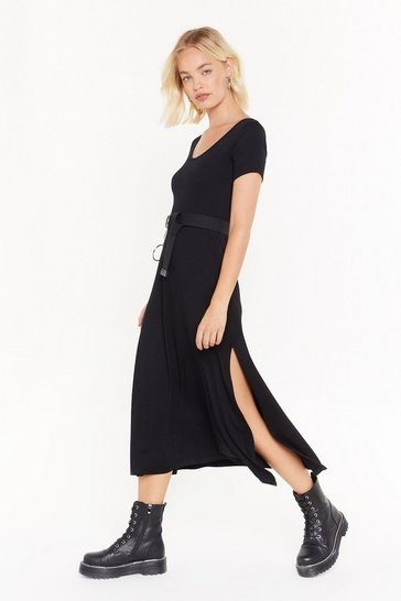 Womens Black This is Split Scoop Neck Midi Dress