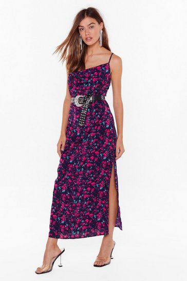 Womens Navy Night Bloomer Floral Cowl Dress