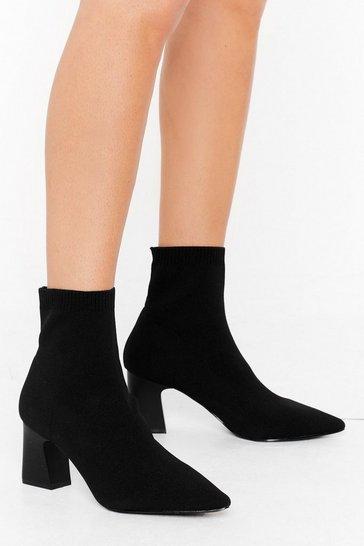 Black Sock It to 'Em Wide Fit Block Heel Boots