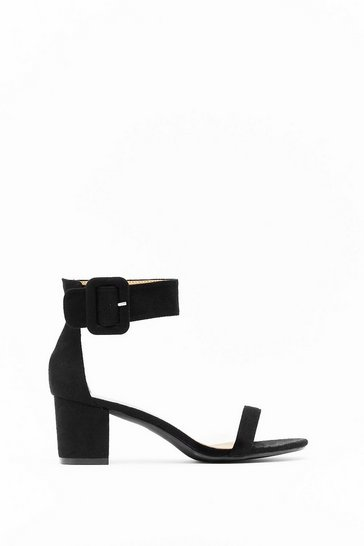 Black Hi There Faux Suede Low Block Heels