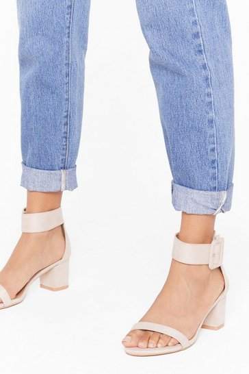Womens Nude Hi There Faux Suede Kitten Heels